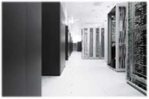 Rows of servers at WVNET's Data Center