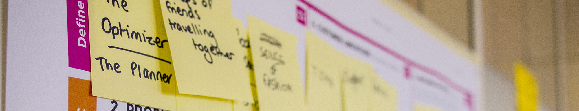 Post-it notes on a planning board