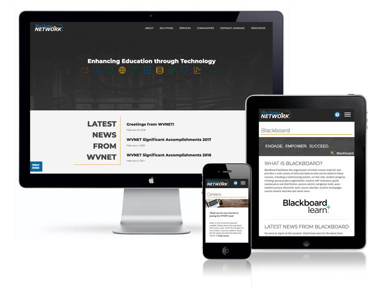 WVNET's new wesbite, shown on desktop, tablet, and mobile