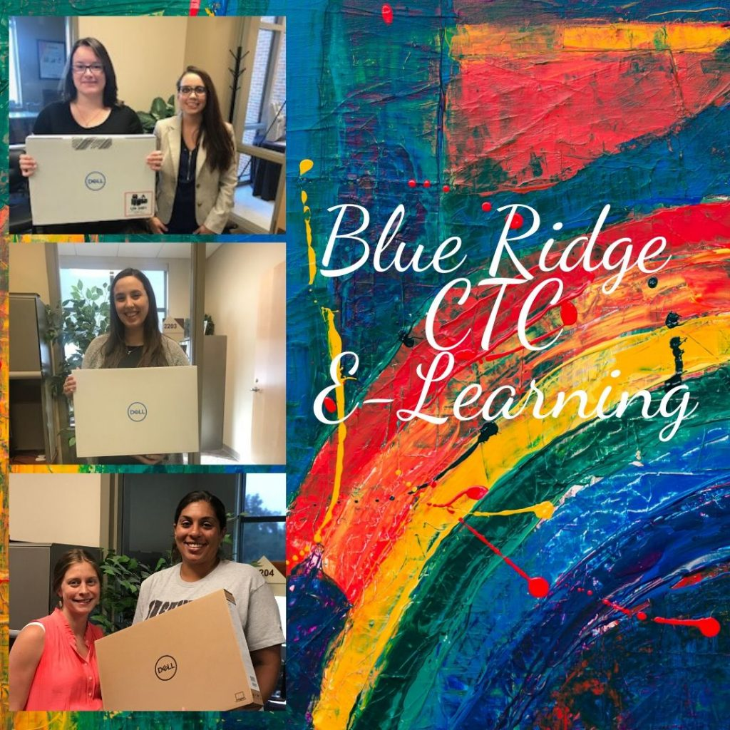 Graphic showing a rainbow paint palette and students from Blue Ridge CTC